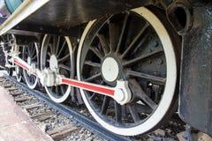 Wheel of locomotive on railway Stock Photography