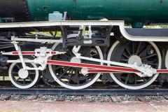 Wheel of locomotive on railway Stock Image