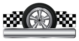 Wheel Logo Design. Illustration of a racing design or logo with wheel, race flags, space for your company name and other text, and an open circle for the car stock illustration