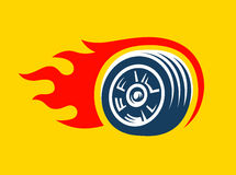 Wheel logo. Fast speed with a fiery trail Stock Photography
