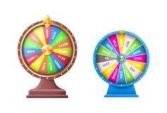 Wheel of Luck or Fortune Wheels Automatic Gambling. Set of wheels of luck or fortune wheel, automatic gambling machines vector illustration isolated on white Royalty Free Stock Photography