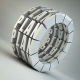 Quality flow. Wheel made of plan text 3d rendered image Stock Photo