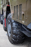 Wheel of a military truck Stock Photography