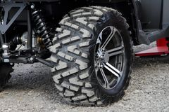 The wheel of a modern ATV. Stock Photo