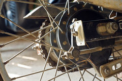 Wheel motorbikes. Closed up old Old wheel motorbikes stock image