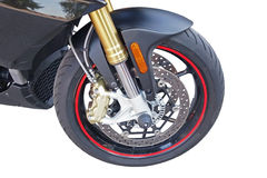 Wheel of motorcycle Stock Images