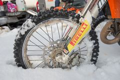 Wheel motorcycle in the snow Stock Photo