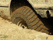 A Wheel in the Mud. Offroad 4x4 challenge in Poland Royalty Free Stock Photo