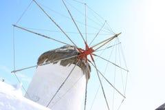 Wheel of Mykonos windmill Stock Photos