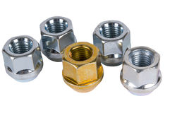 Wheel nuts. Royalty Free Stock Photo