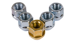 Wheel nuts. Royalty Free Stock Image