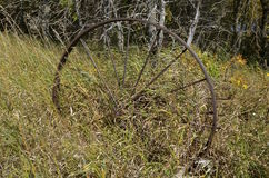Wheel of an old dump rake Stock Image