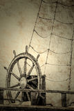 Wheel of an old sailing ship Royalty Free Stock Images