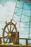 Wheel of an old sailing ship Stock Photo
