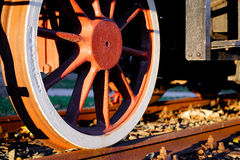 Wheel of an old steam locomotive. Detail of a wheel of an old steam locomotive Royalty Free Stock Photo