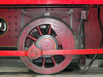 Wheel of an old steam locomotive painted red Stock Photography