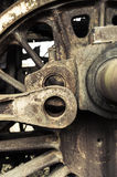 A wheel from an old style railway engine - steam locomotive. Royalty Free Stock Photo