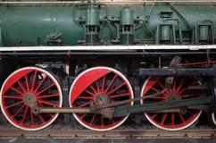 Old steam locomotive  in last century. Wheel of Old train , locomotive in last century Royalty Free Stock Images