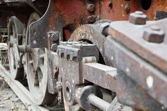 Wheel of old train. On railways Stock Images
