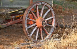 WHEEL. OLD WAGON IN A FIELD Royalty Free Stock Photo