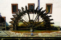 Wheel of an old water mill in Prague Stock Photo