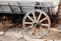 Wheel old wooden wagon stock photo