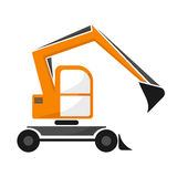 Wheel orange excavator with dipper. Single isolated . Royalty Free Stock Photography