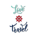 Wheel and original handwritten text Love Travel Royalty Free Stock Images