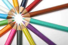 Wheel of  pencils Stock Images