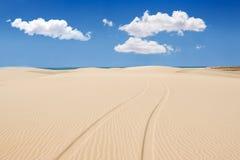 Wheel print in sand dunes of santa monica beach - Praia de Santa Stock Image