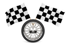Wheel with racing flags. Racing Concept. Wheel with racing flags on a white background Stock Photos