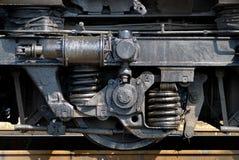 Wheel of the railway diesel tractor. Wheel of the old mechanism of the railway diesel tractor Stock Photos