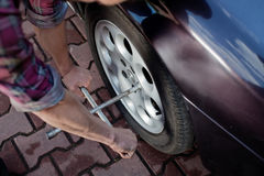 Wheel repair Stock Images