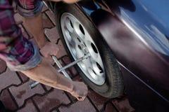 Wheel repair Stock Images