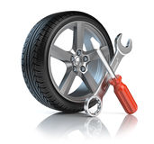 Wheel repair. 3d rendered icon Stock Photography