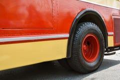 Wheel of retro bus. On exhibition Royalty Free Stock Photo