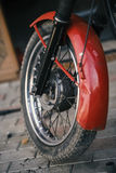 The wheel of retro motorcycle made in USSR, close-up Stock Photography