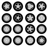 Wheel rims design set Royalty Free Stock Photos