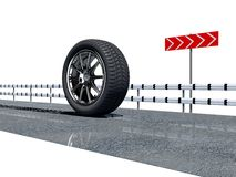 Wheel on the road Royalty Free Stock Photos