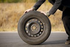 Wheel on road Royalty Free Stock Image