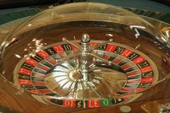 Wheel of roulette in casino close-up royalty free stock images