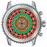 Wheel roulette table in a frame of watches Stock Images