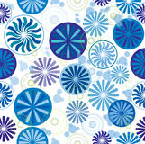 Wheel & Round Background 2. Seamless wallpaper pattern with wheel, round and sunflower design, cool colors, white background, vector Royalty Free Stock Photography