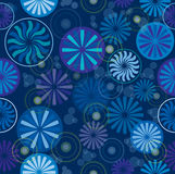 Wheel and Round Background. Seamless wallpaper pattern with wheel, round and sunflower design, cool colors, dark blue background, vector Stock Image