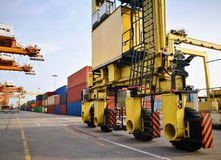 Wheel Rubber Tried Gantry Cranes RTG At Industrial Po Stock Photos