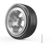Wheel runs over a nail Stock Photo