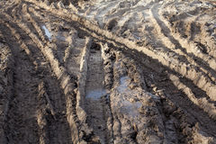 Wheel ruts on the muddy dirt road Royalty Free Stock Photo