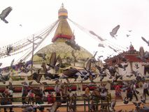 Wheel of samsara. In this holy place all spinning clockwise s people and poultry. Kathmandu, Nepal Royalty Free Stock Photos