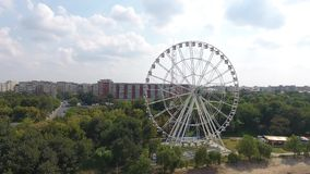Wheel seen from drone. View of the wheel in an amusement park, seen from drone stock video
