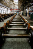 Wheel shafts of trains. Many wheel shafts of trains in the factory Stock Image